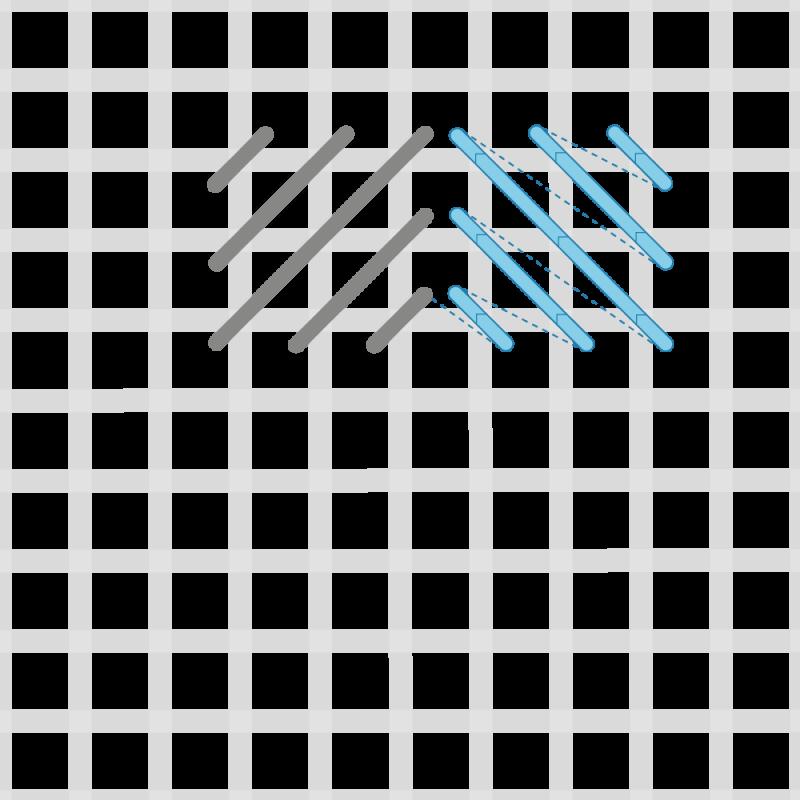 Reversed cushion stitch method stage 4 illustration