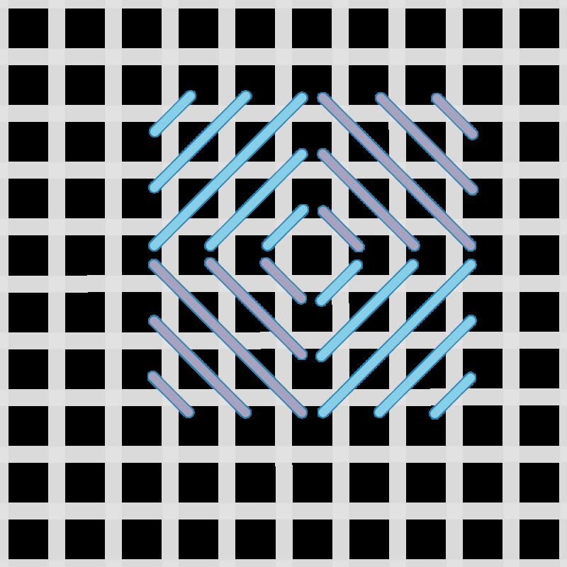 Reversed cushion stitch method stage 5 illustration