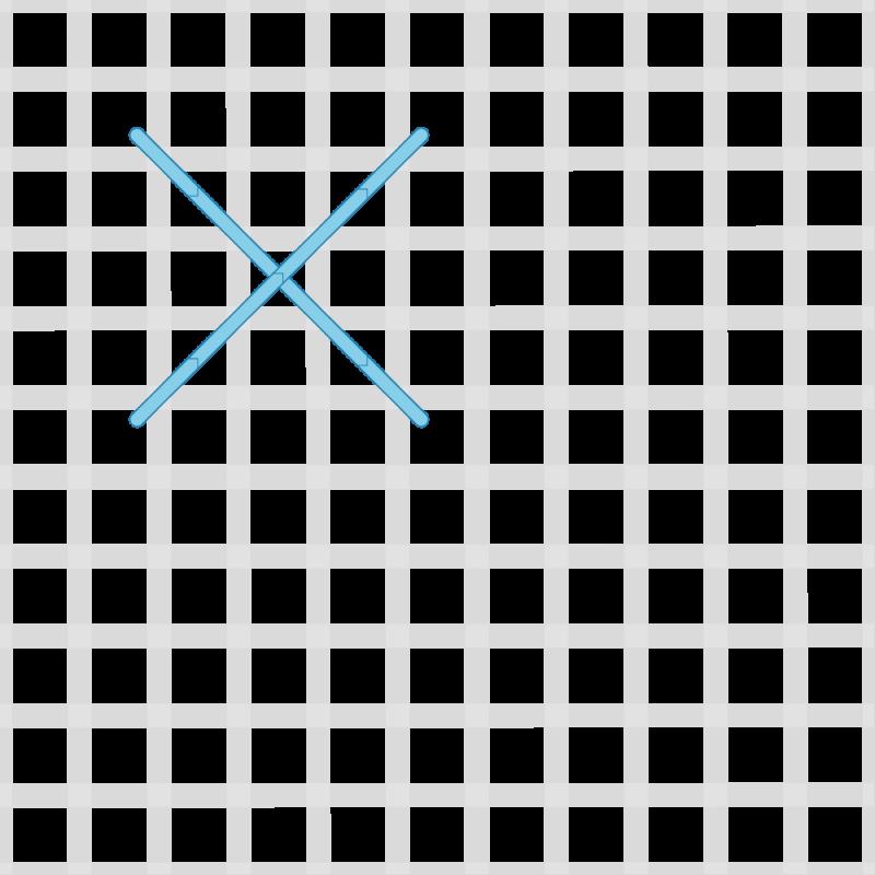 Rice stitch (canvaswork) method stage 1 illustration