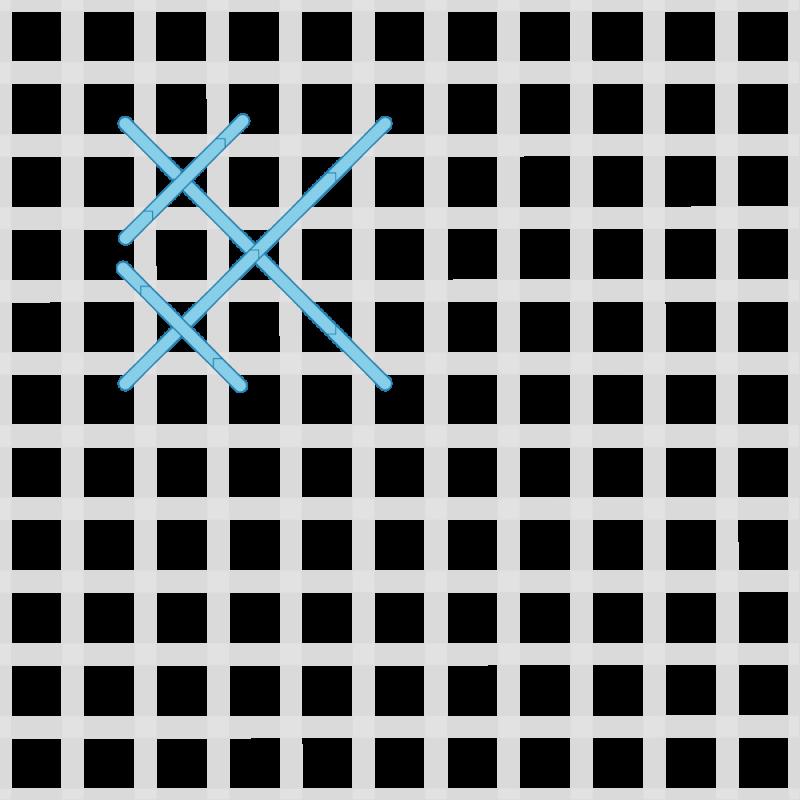 Rice stitch (canvaswork) method stage 2 illustration