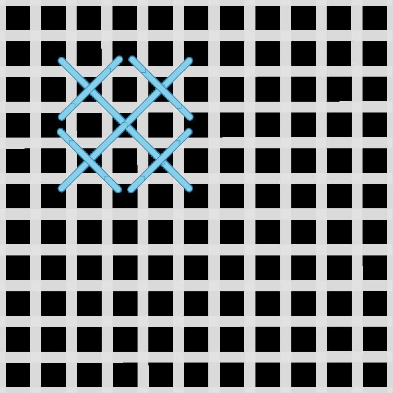 Rice stitch (canvaswork) method stage 3 illustration