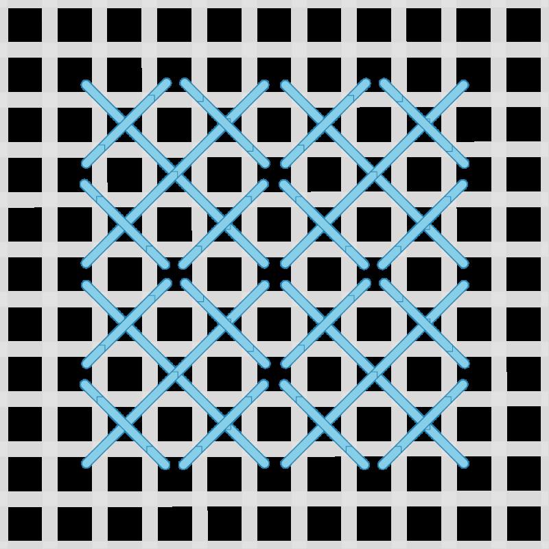 Rice stitch (canvaswork) method stage 4 illustration
