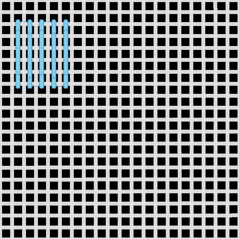 Shell stitch method stage 1 illustration