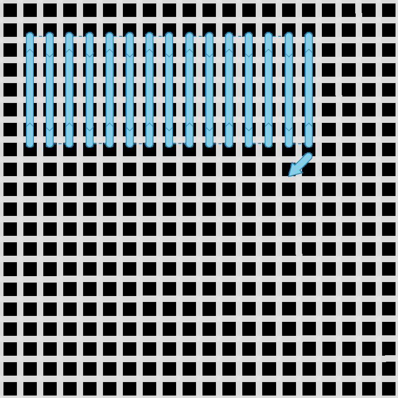 Shell stitch method stage 2 illustration