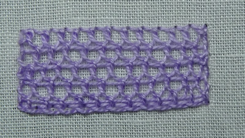 Single corded Brussels stitch method stage 11 photograph
