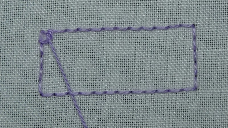 Single corded Brussels stitch method stage 1 photograph