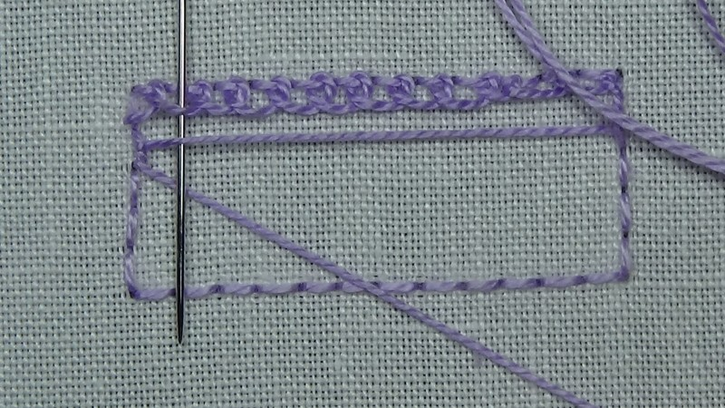 Single corded Brussels stitch method stage 6 photograph