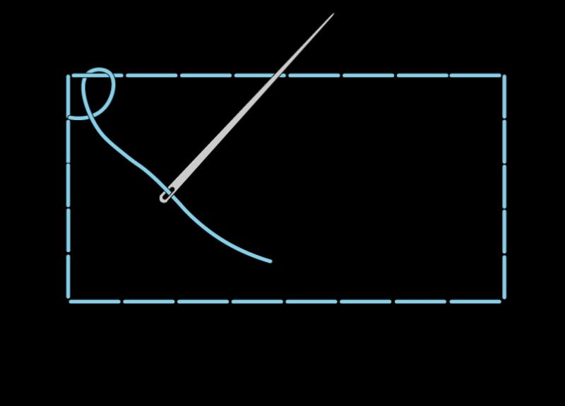 Single corded Brussels stitch method stage 1 illustration