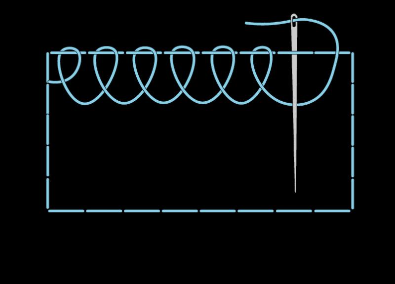 Single corded Brussels stitch method stage 2 illustration