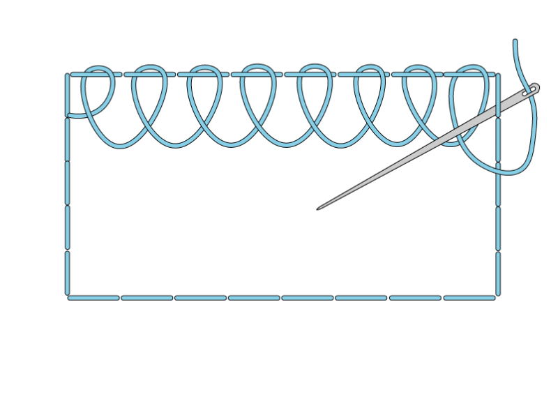 Single corded Brussels stitch method stage 3 illustration