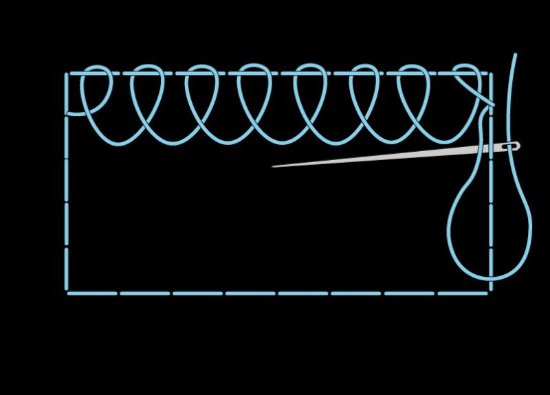 Single corded Brussels stitch method stage 4 illustration