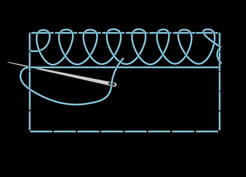 Single corded Brussels stitch method stage 5 illustration