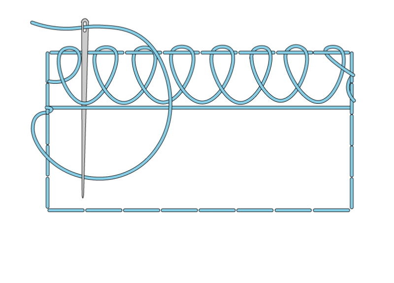 Single corded Brussels stitch method stage 6 illustration