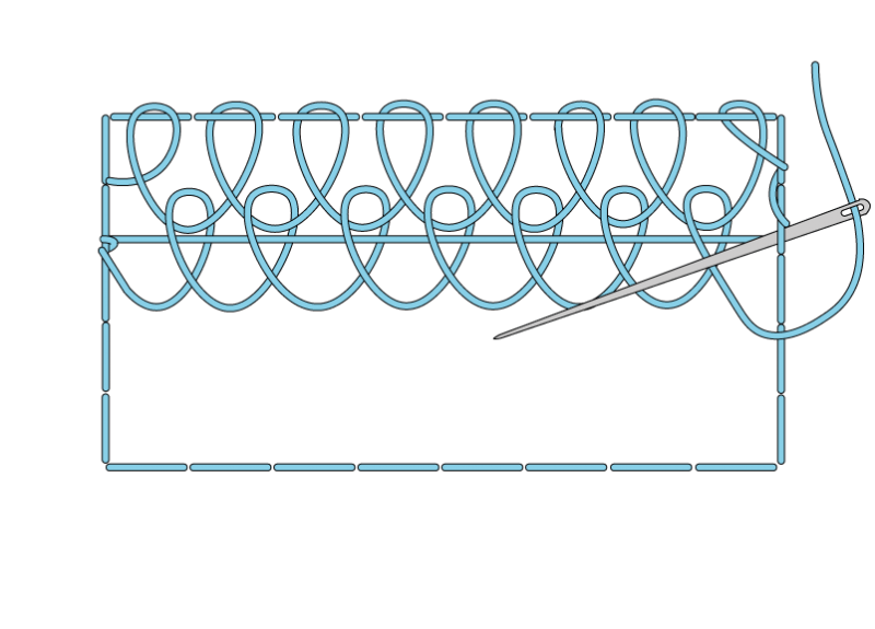 Single corded Brussels stitch method stage 7 illustration