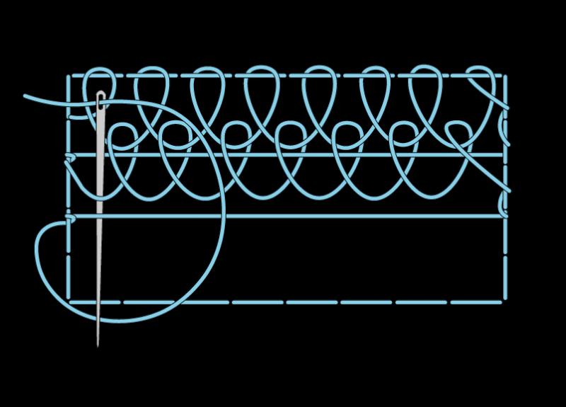 Single corded Brussels stitch method stage 8 illustration