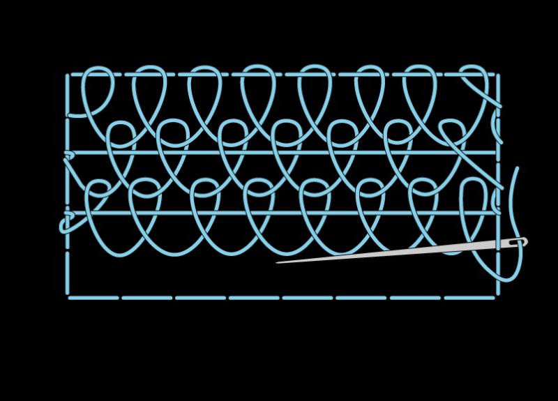 Single corded Brussels stitch method stage 9 illustration