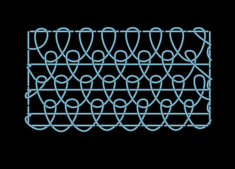 Single corded Brussels stitch method stage 11 illustration