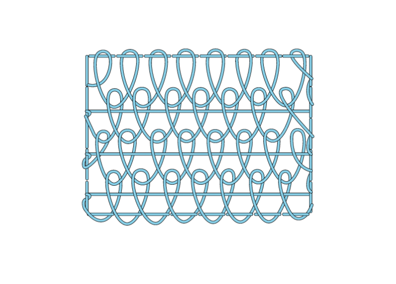 Single corded Brussels stitch method stage 12 illustration