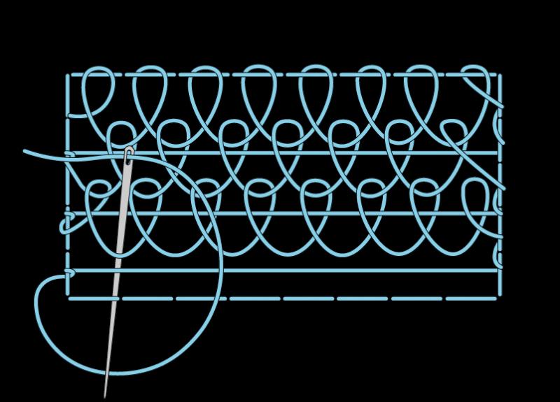 Single corded Brussels stitch method stage 10 illustration