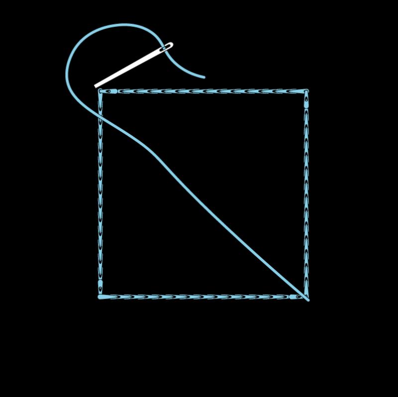 Slanted satin stitch method stage 2 illustration