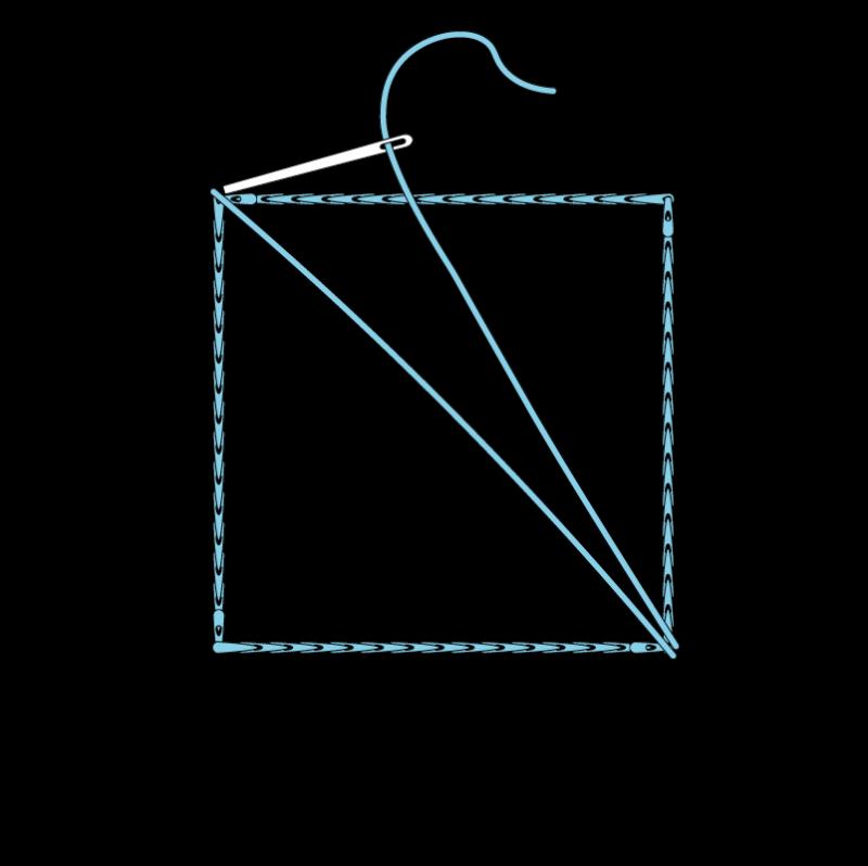 Slanted satin stitch method stage 3 illustration