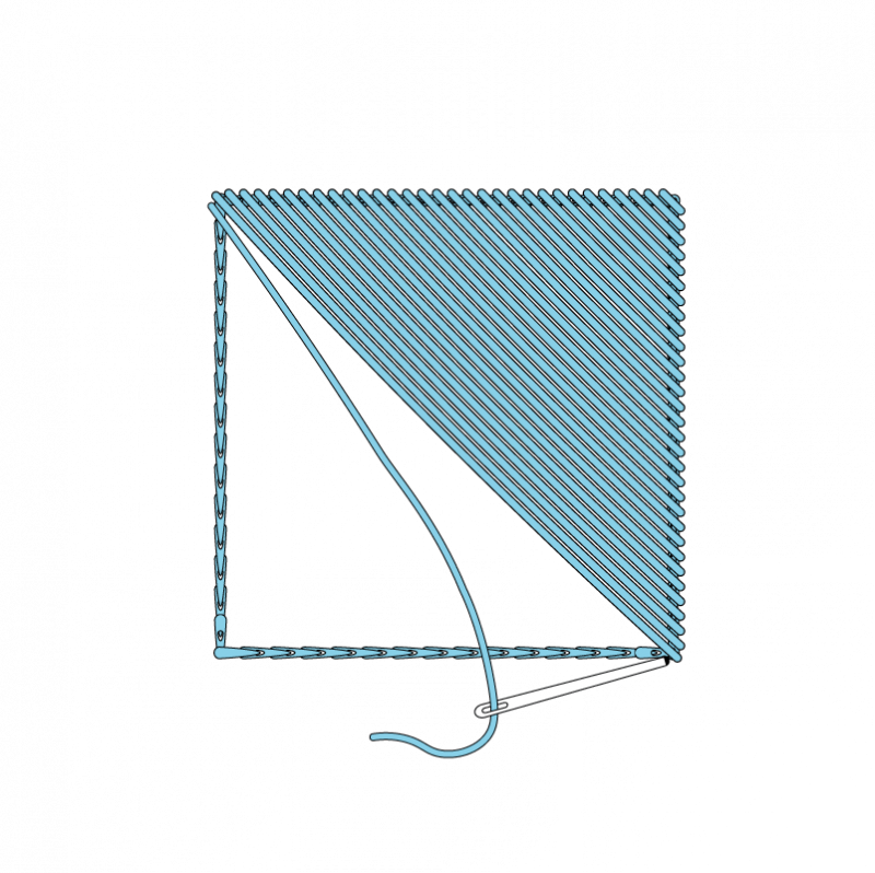 Slanted satin stitch method stage 4 illustration