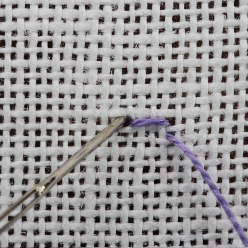 Square eyelet (pulled thread) method stage 3 photograph