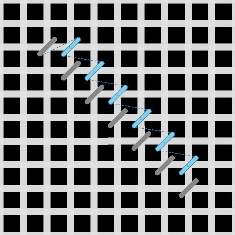 Tent stitch method stage 2 illustration