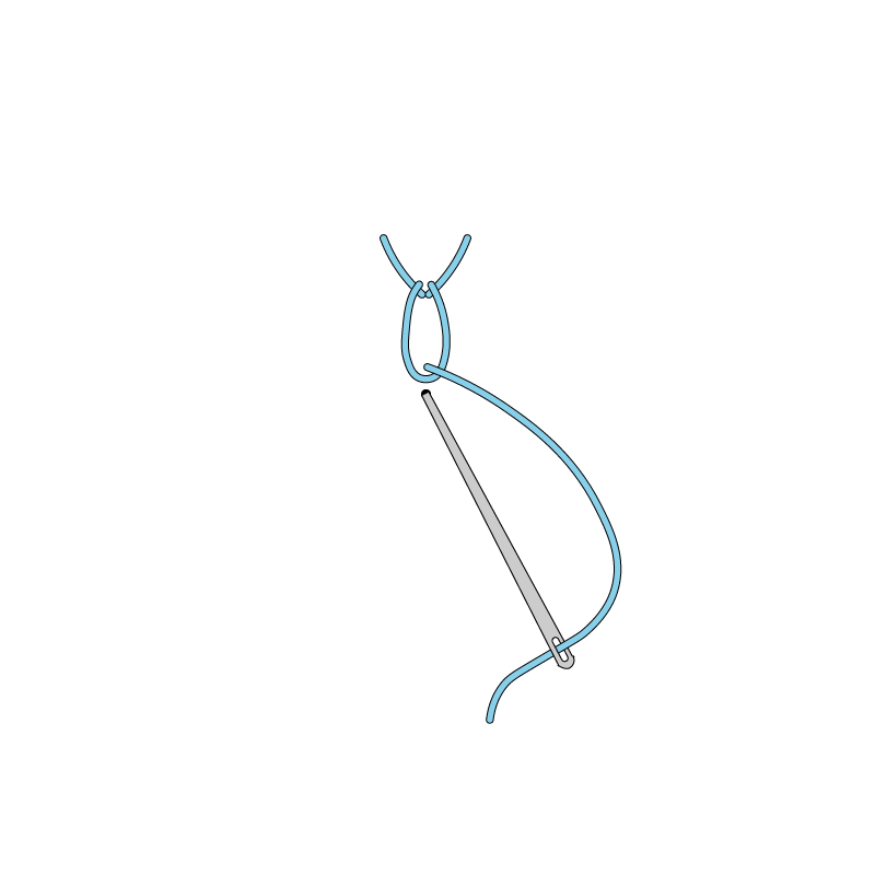 Tete-de-boeuf stitch method stage 5 illustration