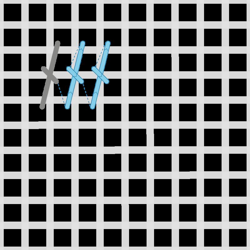 Tied Gobelin stitch method stage 3 illustration