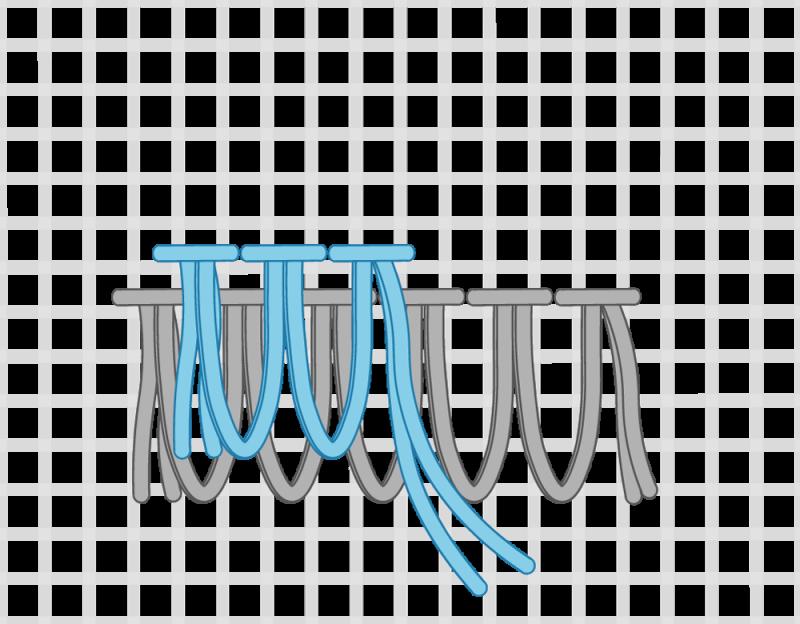 Turkey rug knot method stage 10 illustration