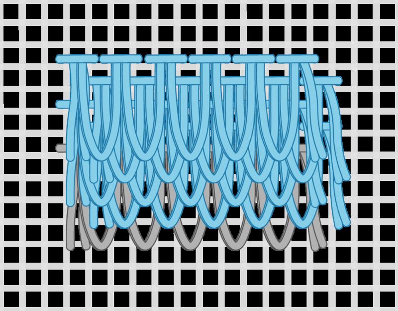 Turkey rug knot method stage 11 illustration