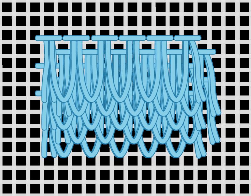 Turkey rug knot method stage 12 illustration