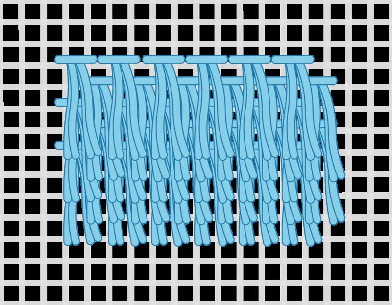 Turkey rug knot method stage 13 illustration