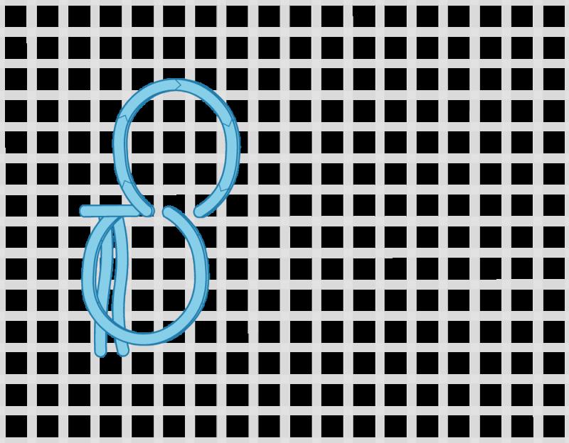 Turkey rug knot method stage 6 illustration