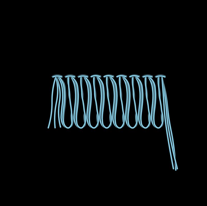 Turkey rug stitch method stage 8 illustration