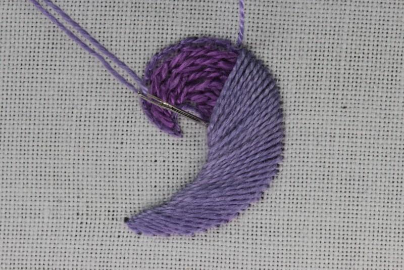 Turned satin stitch method stage 5 photograph
