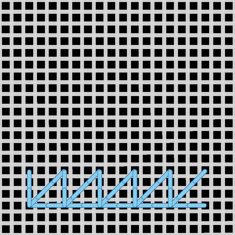 Two-sided Italian cross stitch method stage 10 illustration