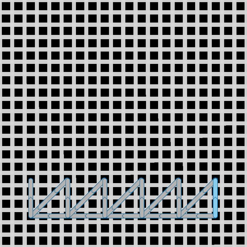 Two-sided Italian cross stitch method stage 11 illustration