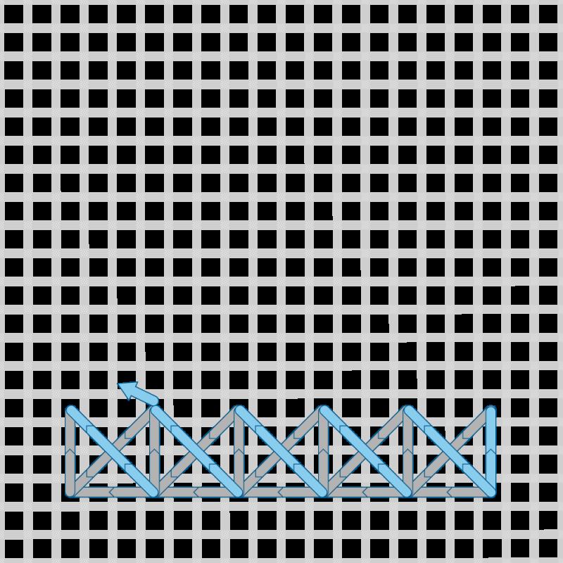 Two-sided Italian cross stitch method stage 13 illustration