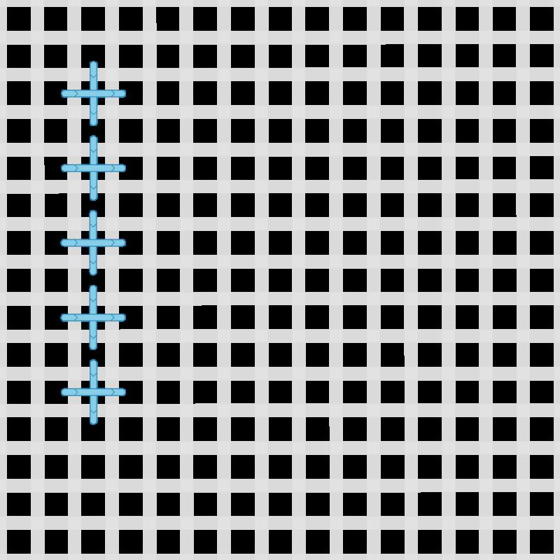 Upright cross stitch method stage 2 illustration