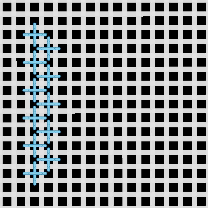Upright cross stitch method stage 3 illustration