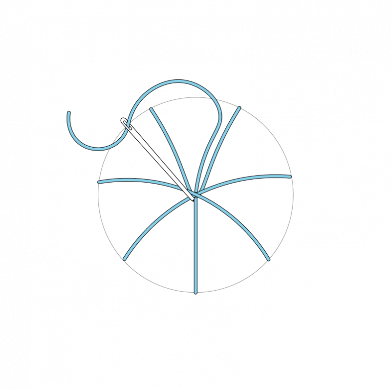 Woven wheel method stage 5 illustration