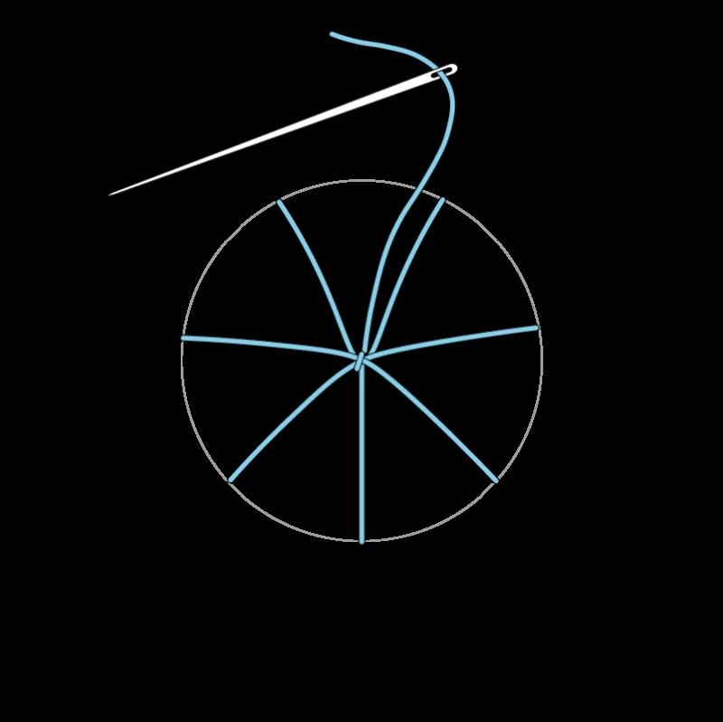 Woven wheel method stage 6 illustration