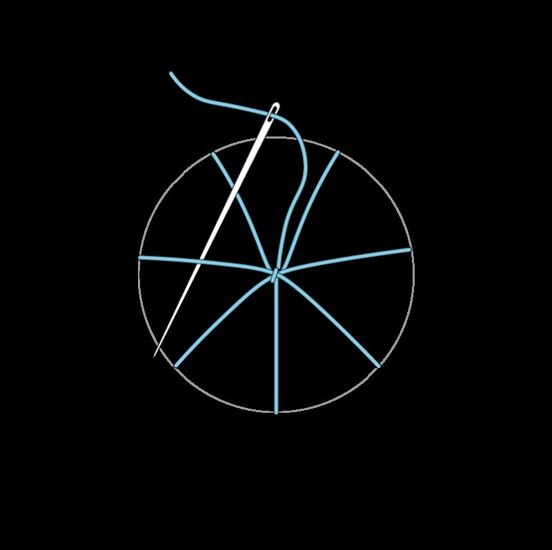Woven wheel method stage 7 illustration