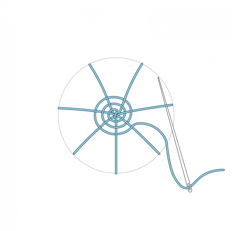 Woven wheel method stage 8 illustration